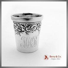 Floral Scroll Repousse Small Shot Cup Sterling Silver The Merrill Shops 1900