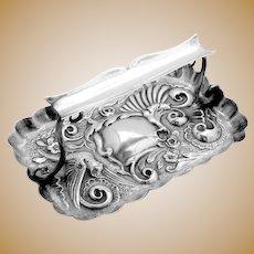Ornate Repousse Bird Pen Tray Rest Sterling Silver Charles Henry Dumerk 1894