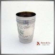 Art Nouveau Tall Vodka Shot Cup Russian 84 Standard Silver 1910