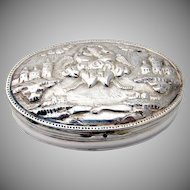 Ornate Embossed Friendship Oval Box Georgian Silver 1930