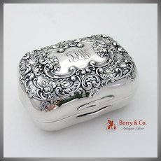 Ornate Floral Scroll Soap Box Sterling Silver Gorham 1903