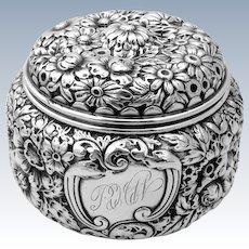 Ornate Floral Repousse Dresser Jar Sterling Silver Gorham 1890