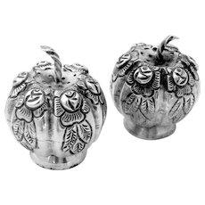 Figural Pumpkin Salt Pepper Shaker Set Sterling Silver 2 Pieces Maciel Mexico 1970