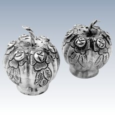 Figural Pumpkin Salt Pepper Shaker Set Sterling Silver 2 Pieces Maciel Mexico 1970