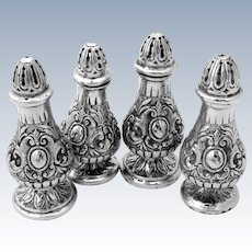 Ornate Heavy Cast Salt Pepper Shaker Set 800 Silver 4 Pieces Fratelli Coppini 1900