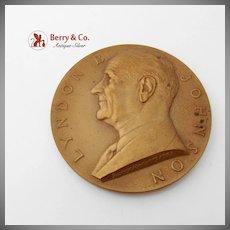 Large Lyndon B Johnson Presidential Inaugural Medal Bronze US Mint 1963