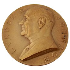 Large Lyndon B Johnson Presidential Inaugural Medal Bronze US Mint 1963