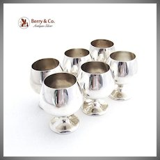 Elegant Cordial Cups Sterling Silver 6 Pieces Gorham 1940