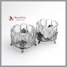 Dazzling Embossed Pierced Rose Scroll Open Salt Dishes German 835 Silver Cut Glass Pair FRL 1960
