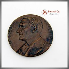 Warren G Harding Commemorative Medal Bronze 1923