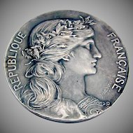 French Grande Guerre WW1 Souvenir Medal Silverplate 1920
