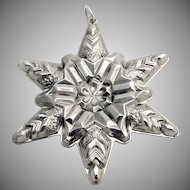 Gorham Snowflake Christmas Ornament Sterling Silver 1970