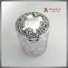 Floral Scroll Shell Large Dresser Tobacco Jar Sterling Silver Cut Glass 1900