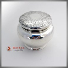 Engraved Floral Scroll Dresser Jar Sterling Silver Wallace 1900