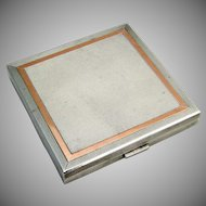Elegant Square Makeup Compact Sterling Silver Gilt Applied Gold W H Manton 1949