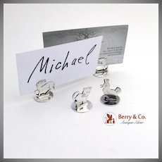 Figural Animal Place Card Holders Silverplate 4 Pieces 1950
