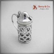 Cut Work Mustard Pot Sterling Silver Glass Webster 1940