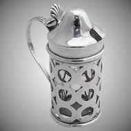 Cut Work Mustard Pot Sterling Silver Glass Webster 1940