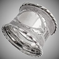 Engine Turned Engraved Twisted Rim Napkin Ring Coin Silver 1890