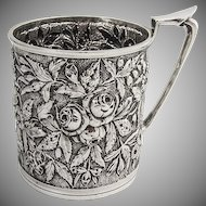 Repousse Floral Mug Sterling Silver Justis Armiger 1880