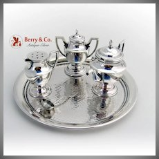 Miniature Figural Salt Pepper Mustard Set Sterling Silver Glass 4 Pieces Japan 1960