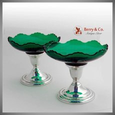 Courtship Candy Dishes Candle Sticks Sterling Silver Green Glass Pair International 1936
