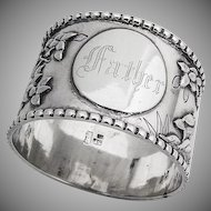 Antique Ornate Dagwood Crane Napkin Ring Chinese Export Silver 1890