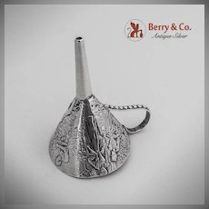 Rare Happy Gentry Relaxing Flask Funnel German Hanau 800 Silver Gebruder Glaser 1890