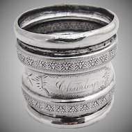 Foliate Embossed Engraved Napkin Ring Coin Silver 1870