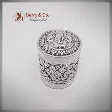Elephant Foliate Scroll Repousse Round Box Silver Thailand 1950