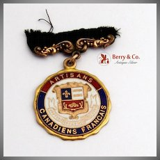 Artisans Canadiens Francais Medal Caron Freres R.P. Maker, Gold Plated Red Blue and White Enamel, c.1900