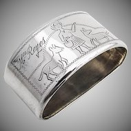 Vintage Napkin Ring Engraved Girl and Two Dogs 800 Silver 1930s