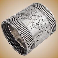 Aesthetic Coin Silver Napkin Ring Floral Foliate Coin Silver Towle 1880