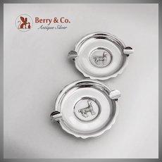 Pair Lama Ashtrays Sterling Silver Peru 1960