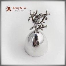 Tea Bell Figural Bird Building a Nest Handle Sterling Silver Spain