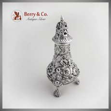 Floral Repousse Salt Shaker Schofield Sterling Silver 1890