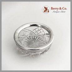 Cut Crystal Serving Bowl Sterling Silver Rim 1900
