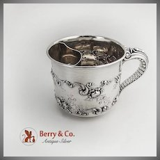 Shaving Mug Rose and Scroll Decorations Elephant Trunk Handle Gorham Sterling Silver 1898