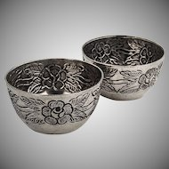 Pair of Open Salts Salt Dishes Cellars Embossed Rose 900 Silver Mexico