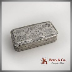 Antique French Rectangular Match Box Safe Sterling Silver 1880