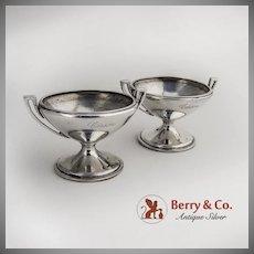 Pair Open Salt Dishes Cellars Coin Silver Gorham Silversmiths 1860