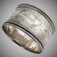 Engine Turned Napkin Ring Coin Silver 1890