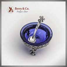Ornate Open Salt and Spoon Cobalt Blue Glass Figural Cherub Decorations 800 Silver