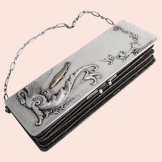 Art Nouveau Lady s Purse Russian 84 Standard Silver Gold Fish Swan Decorations