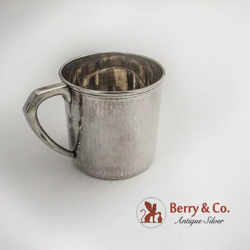 74cff532a202 Hammered Baby Cup Japanese 950 Sterling Silver 1930   Berry   Company Antique  Silver