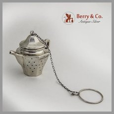 Figural Teapot Tea Ball Sterling Silver 1930