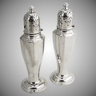 Tall Salt and Pepper Shakers Sterling Silver Watson 1920