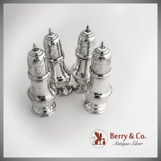 Set of Four Large Salt and Pepper Shakers Sterling Silver 1930