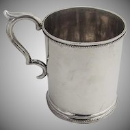 Coin Silver Mug Cup Beaded Borders 1870