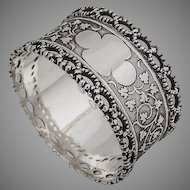 Aesthetic Twist Rope Border Napkin Ring Coin Silver 1870